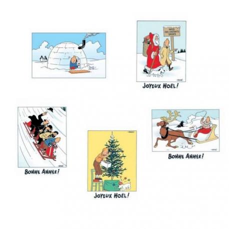 Set of 5 Christmas and New Year Tintin Postcards (15x10cm)