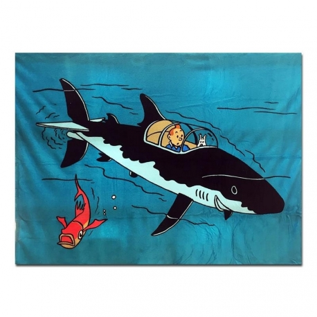 Tintin plaid - polar cover submarine shark