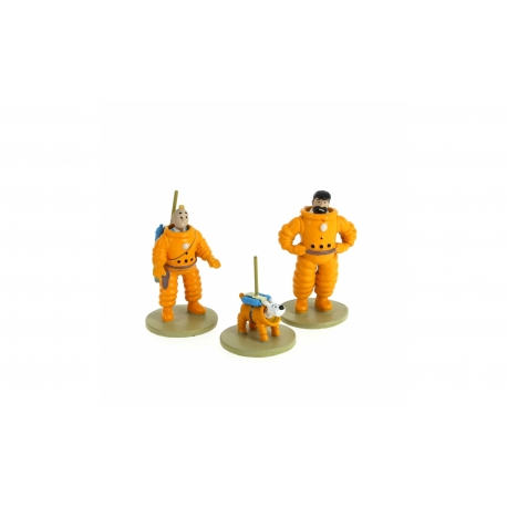 Mini Figurines lead Tintin, Haddock and Snowy Cosmonaut