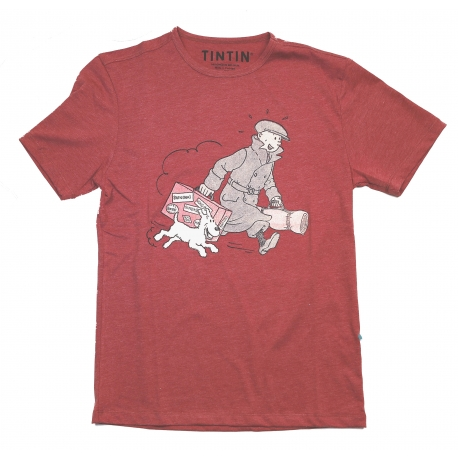 "T-Shirt Tintin ""Ils arrivent!"" rouge"