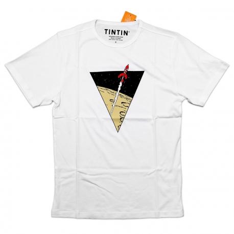 Tintin T-shirt triângulo foguetão branca
