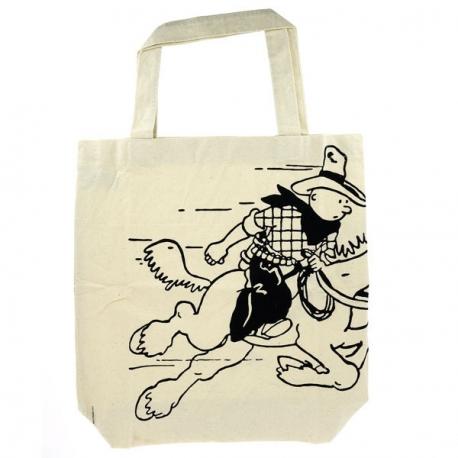 Cotton bag Tintin on a horse