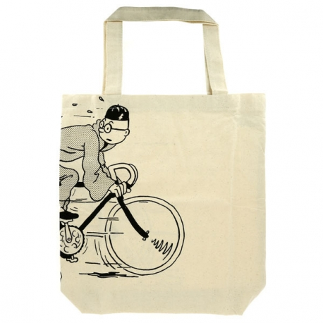 Cotton bag Tintin on bicycle