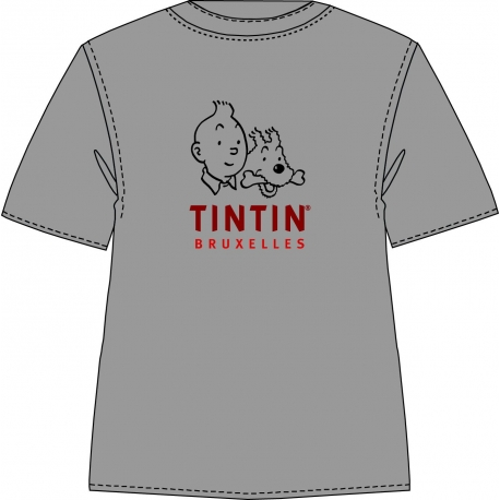 T-Shirt Tintin Bruxelles (Grey/Cherry)