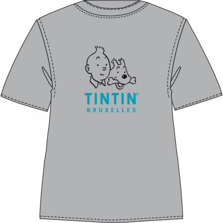 T-Shirt Tintin Bruxelles (Gris/Bleu)