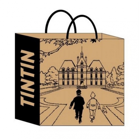 Recycled paper bag Tintin Castle of Moulinsart 36x25x11cm