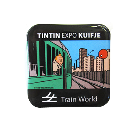 "Badge ""Tintin à Train World"" 40x40 mm"