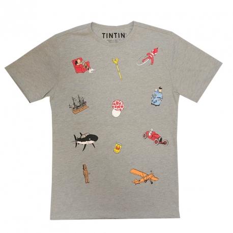 T-SHIRT Tintin Ícones cinza