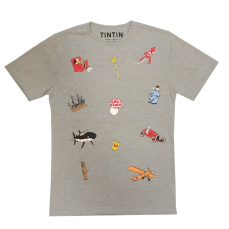 T-SHIRT Tintin Icons grey