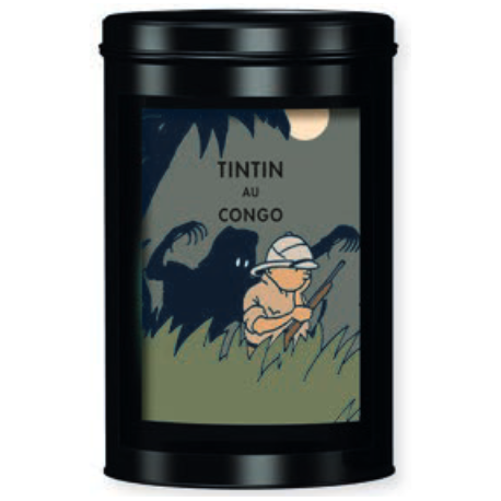 TIN FAIRTRADE COFFEE TINTIN AU CONGO - leopard
