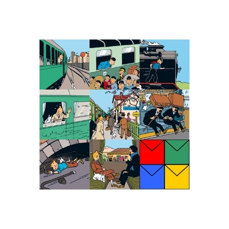 DOUBLE POSTCARD SET OF 8 TRAIN