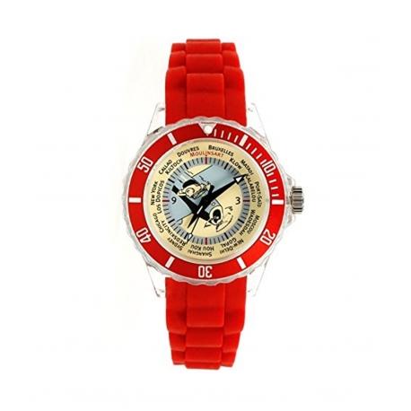 Relógio Tintin Avião - bracelete vermelha