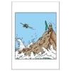 Postal duplo Tintin ilhota e avião