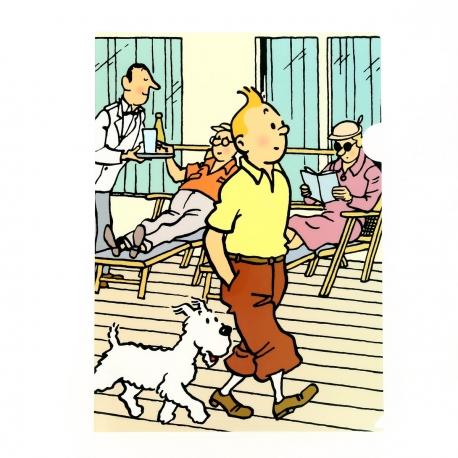 Capa plástica A4 Tintin em passeio