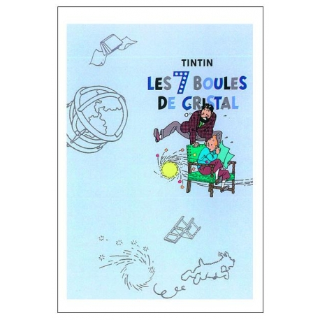 Postal duplo Tintin Globo 7 Bolas Cristal