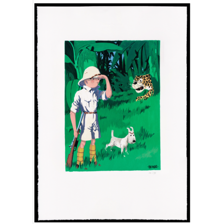 "TINTIN TO CONGO - ESTAMPE LITHOGRAPHIQUE ""GOUACHE"""