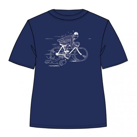 T-SHIRT TINTIN & Milou - bicicleta LOTUS azul