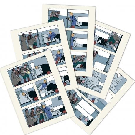 Tintin Soviets Lithographic prints - Night scene x5