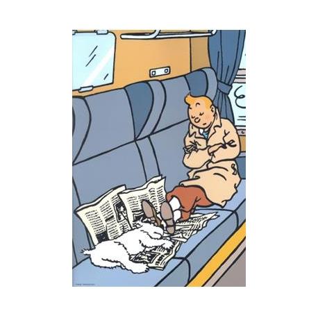 Plastic A4 folder Tintin Black Island train