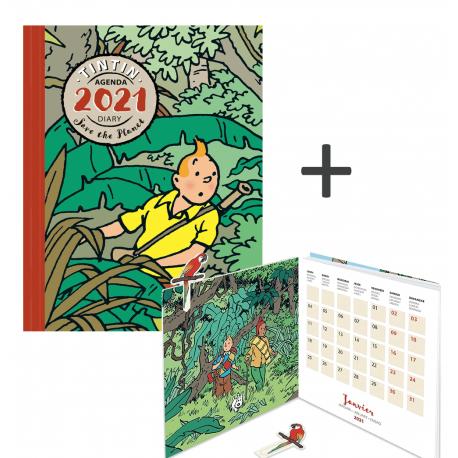 Agenda (21x16 cm) + Calendar (13.5 x 13.5 cm) 2021 Tintin