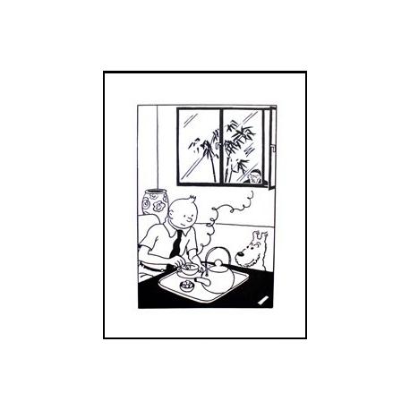 """Poster """"Prenant le thé"""" Lotus Bleu (50 x 70 cm)"""