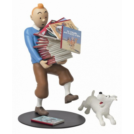 Tintin Holding the Albums