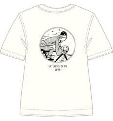 T-shirt Tintin de bicicleta - cru