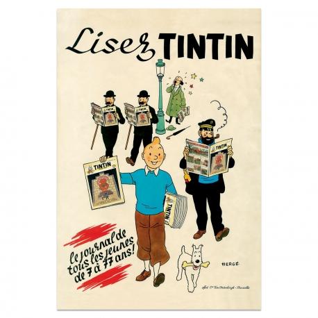 Affiche Lisez Tintin
