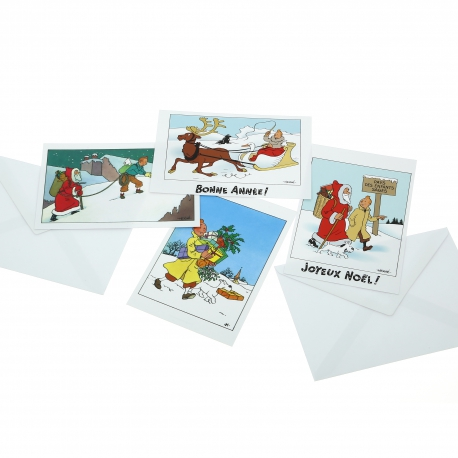 Set of 10 Christmas and New Year Tintin Postcards (15x10cm)