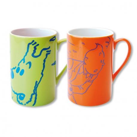 Par de canecas Tintin e Milou laranja e verde