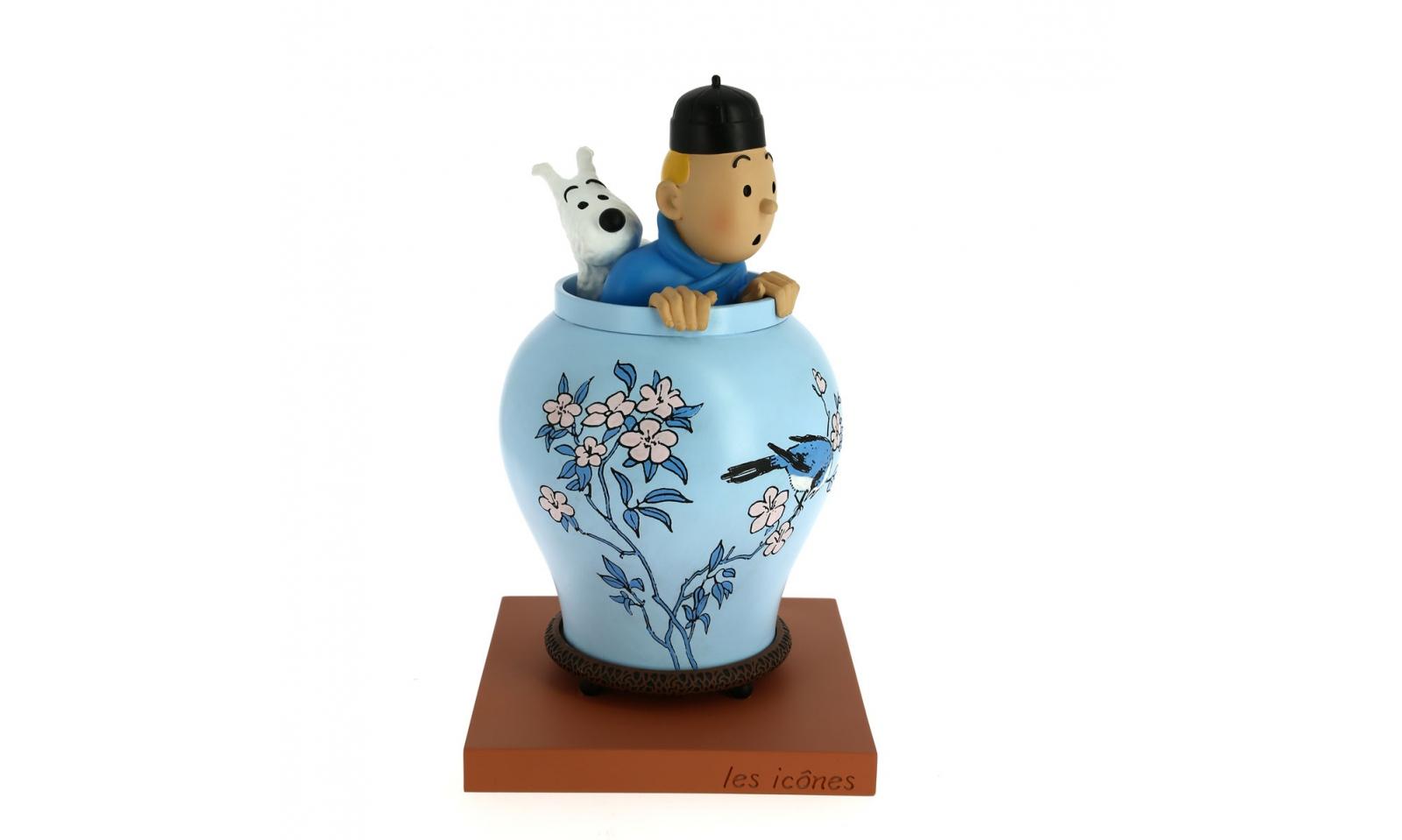 1 icons tintin blue lotus vase resine figures loja. Black Bedroom Furniture Sets. Home Design Ideas